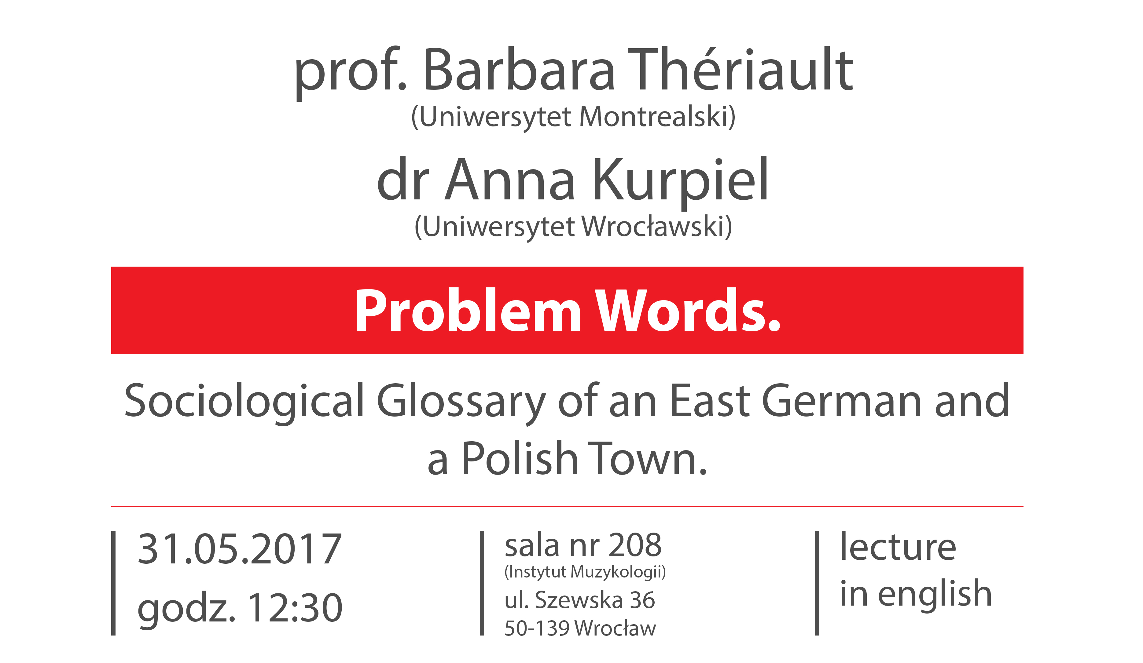 "Spotkanie z prof. Barbarą Thériault oraz dr Anną Kurpiel ""Problem Words. Sociological Glossary of an East German and a Polish Town"""
